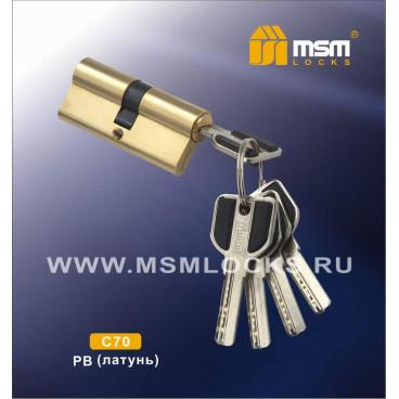 Цилиндровый механизм MSM C70 перфоключ ключ/ключ PB Полированная латунь